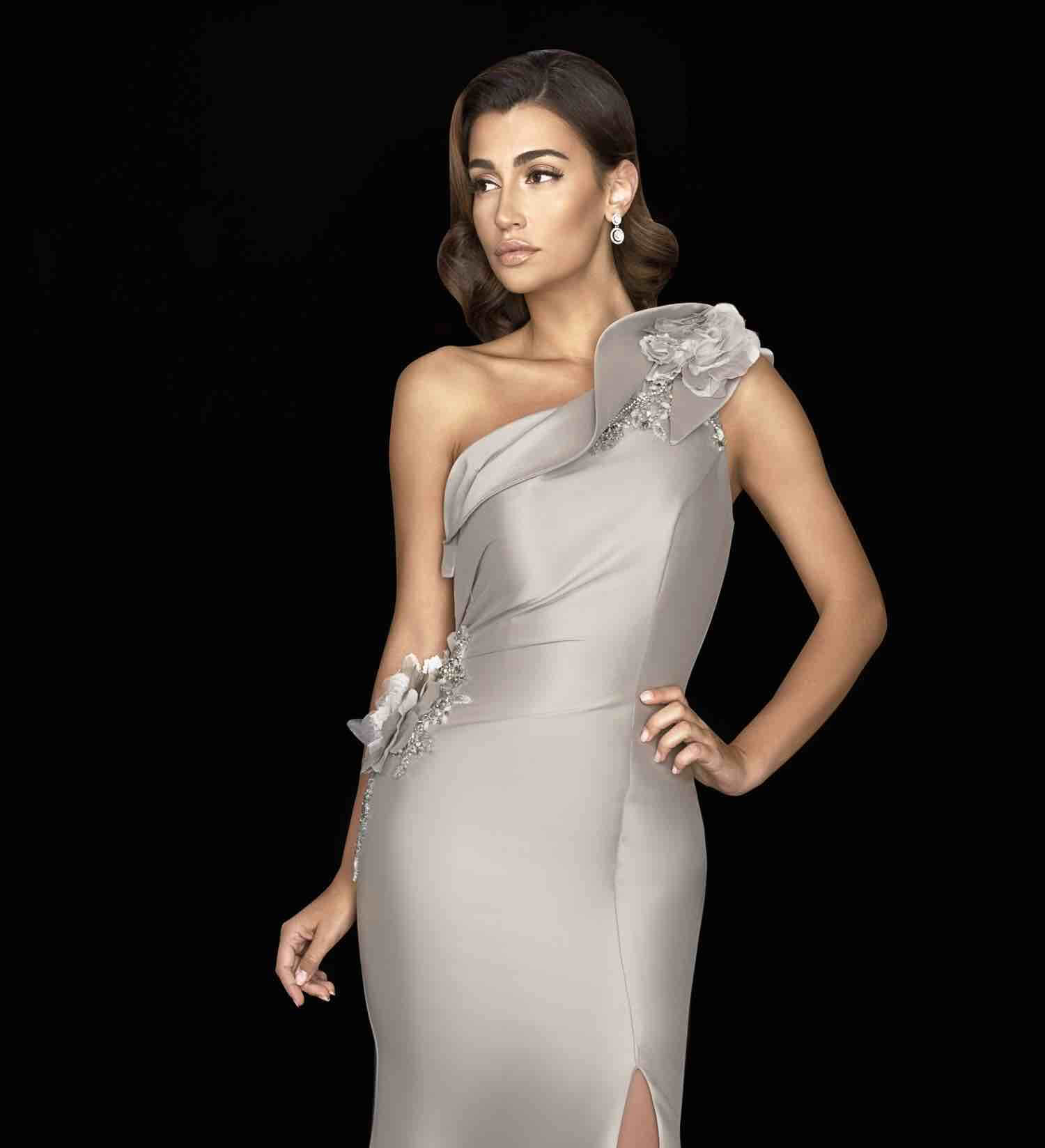 Model Wearing a mothers collection gown