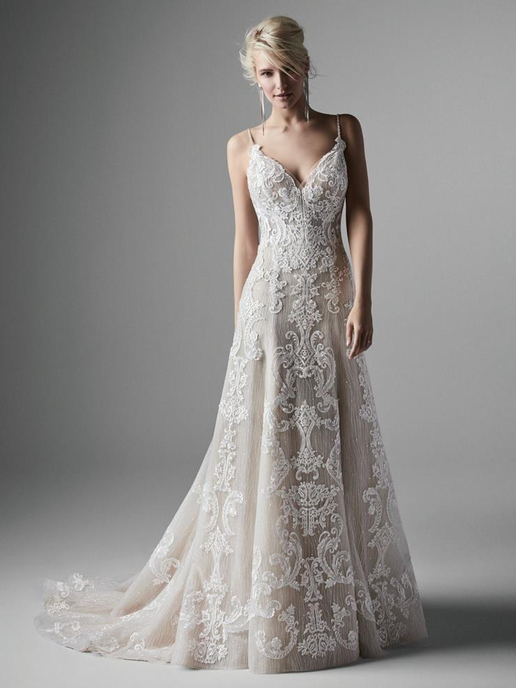 Sottero and Midgley Style #Rowland Shimmery A-line Wedding Dress with Unique Illusion Back Image
