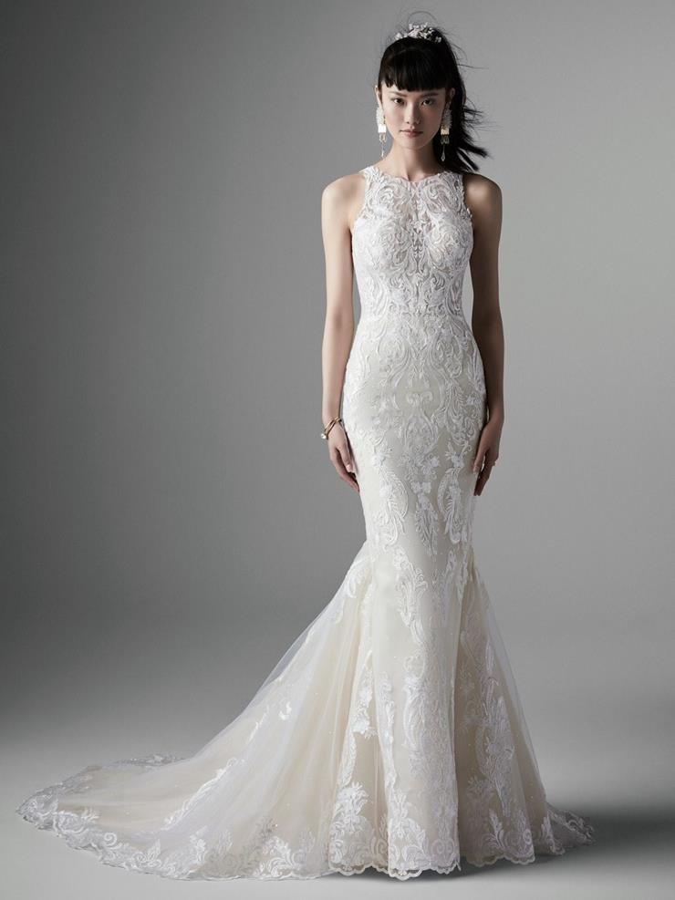 Sottero and Midgley Style #Tovah Lane Halter Mermaid Lace Wedding Dress with Deep V Back Image