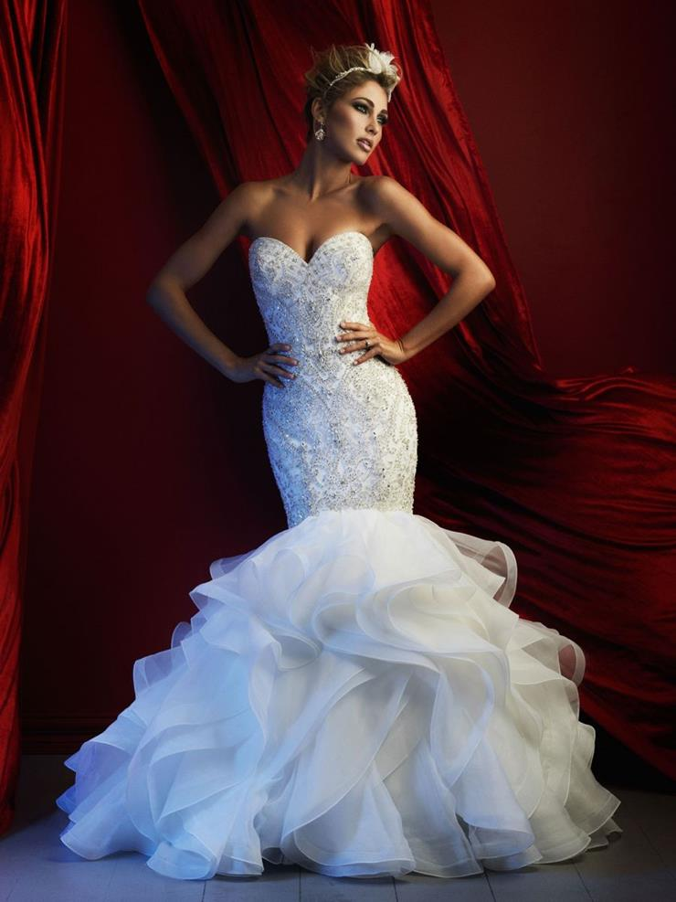 Allure Couture Style #c367 Stunning Rhinestone and Pearl Beaded Strapless Mermaid Wedding Dress with Ruffled Skirt  Image