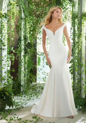 Morilee Style #6903 Simple Off the Shoulder Fit and Flare Wedding Dress  Image