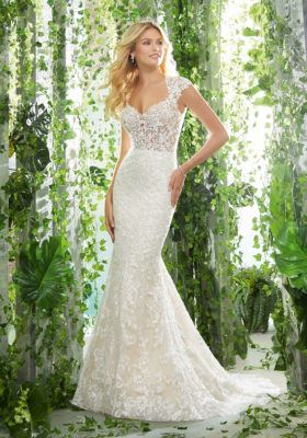Morilee Style #6905 Lace Fit and Flare with Keyhole Back and Cap Sleeves  Image