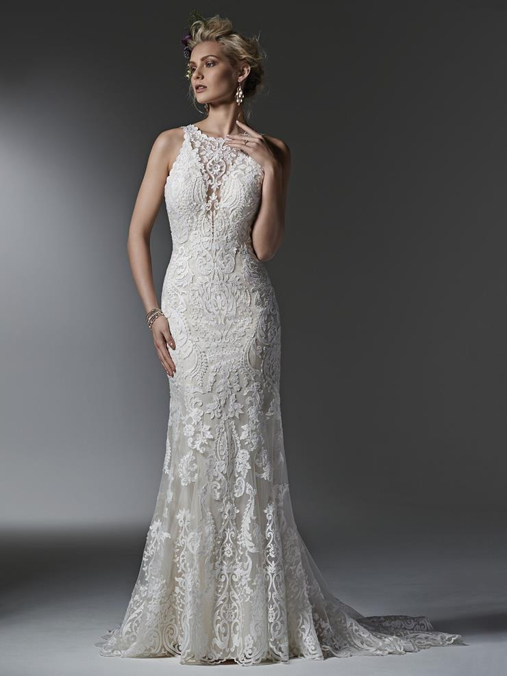 Sottero and Midgley Style #Winifred Halter Lace Sheath Wedding Dress with Deep V Back Image