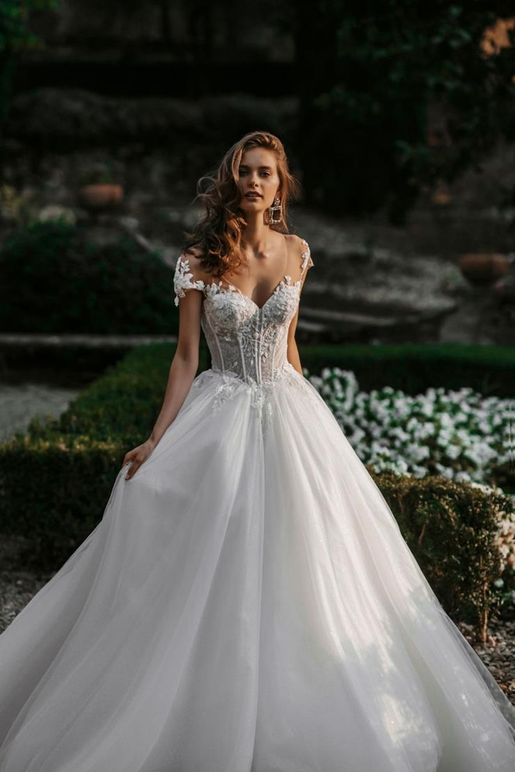 Allure Bridals Style #E155 Modern Ball Gown Wedding Dress with Corset Top and Illusion Cap Sleeves