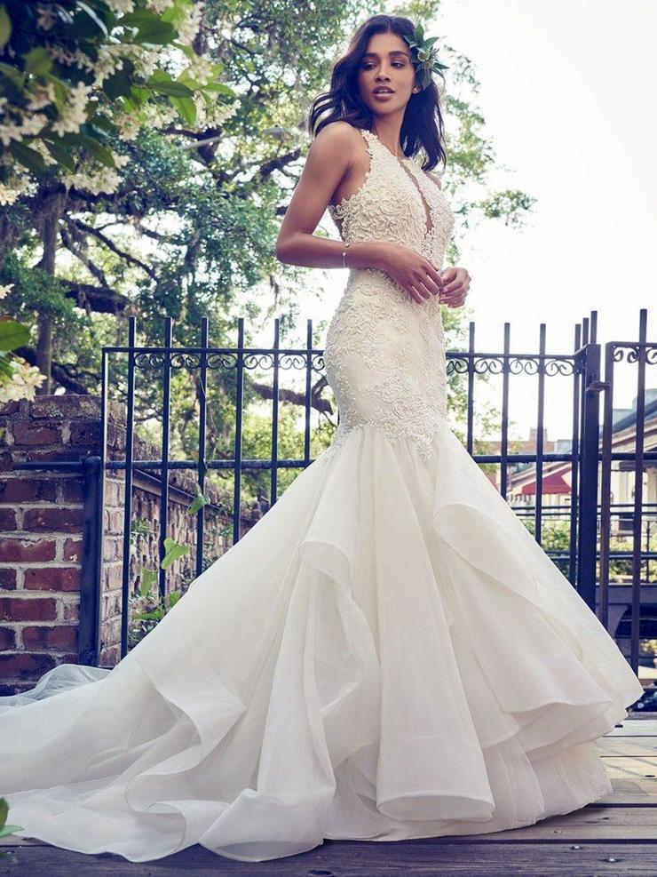 Maggie Sottero Style #Veda Lace and Organza Mermaid Wedding Dress with Illusion Back  Image